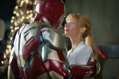 "Robert Downey Jr e Gwyneth Paltrow in una scena di ""Iron Man 3""."