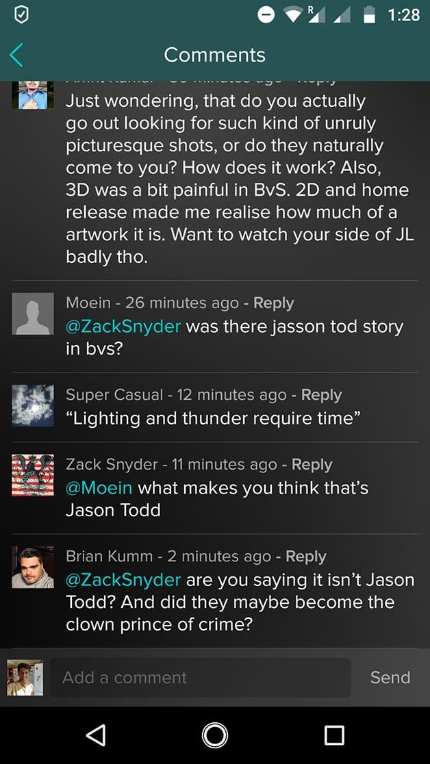 Zack Snyder Batman V Superman: Dawn of Justice Cinematographe
