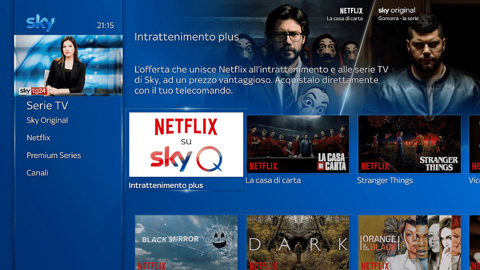 Dal 9 Ottobre Netflix accessibile anche da Sky Q in Italia